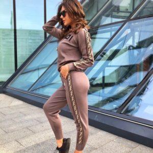 Приобрести женский спортивный костюм c эмблемой Fendi цвета мокко по низким ценам