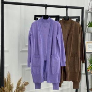 Заказать сирень, коричневый женский вязаный костюм: гольф+штаны+кардиган онлайн