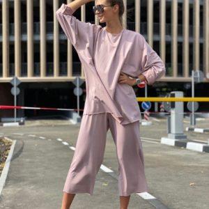 Приобрести цвета пудра женский костюм оверсайз свободного кроя: штаны+кофта на осень по скидке