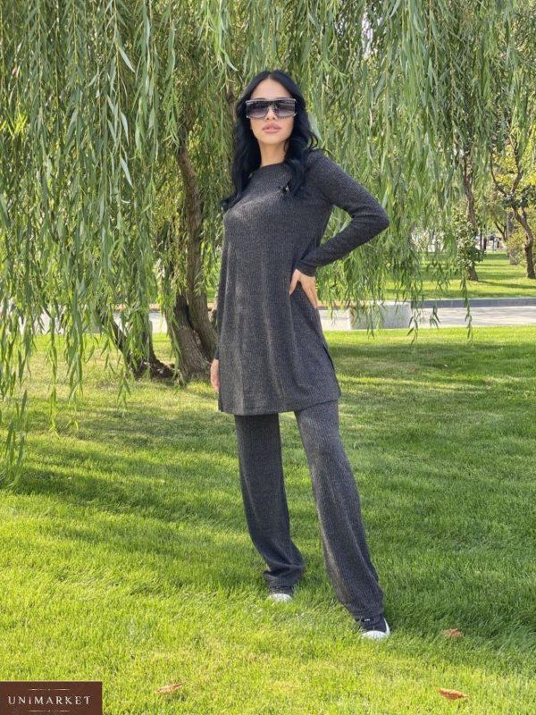 Приобрести женский прогулочный костюм рубчик с туникой по скидке цвета графит