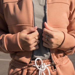 Купить кэмел женский спортивный костюм из футера на флисе (размер 42-48) недорого