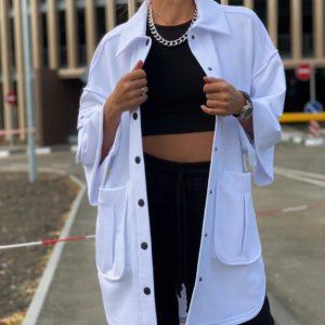 Заказать женский черно-белый костюм: джогеры+кофта с карманами свободного кроя выгодно
