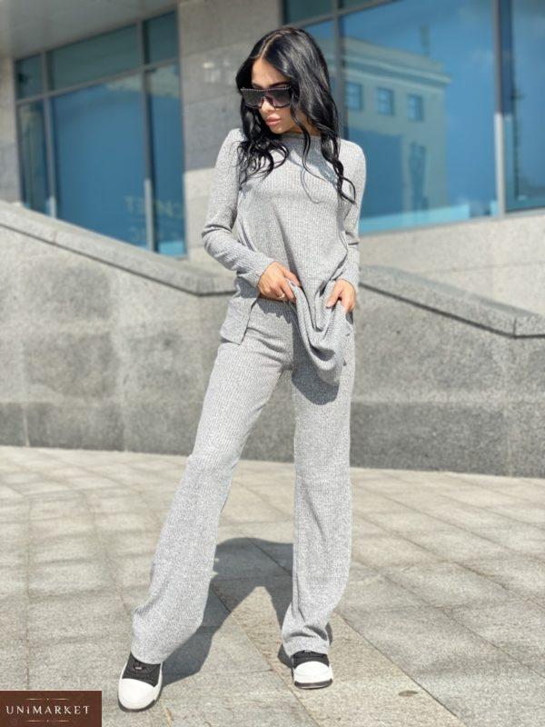 Заказать женский прогулочный костюм рубчик с туникой недорого светло-серого цвета