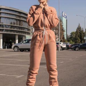 Приобрести женский спортивный костюм из футера на флисе (размер 42-48) цвета кэмел на осень в Украине