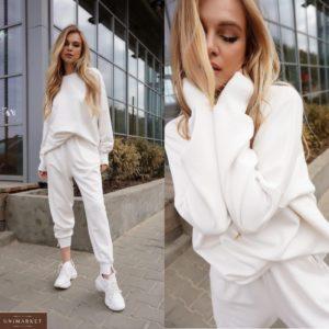 Заказать белый женский спортивный костюм из трехнити: штаны+свитшот (размер 42-50) недорого