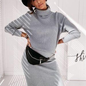 Купить женский структурный теплый костюм из ангоры: гольф+юбка серого цвета по скидке