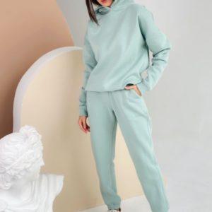 Заказать мятный спортивный костюм оверсайз на флисе с капюшоном женский по скидке (размер 42-48)