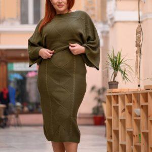Заказать цвета хаки дешево вязаный костюм со юбкой миди (размер 44-54)