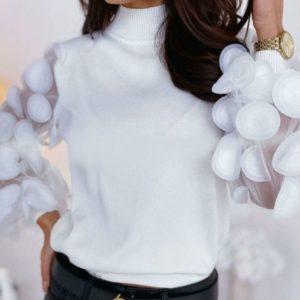 Приобрести трикотажную кофту с объемными шифоновыми рукавами для женщин белого цвета в Украине