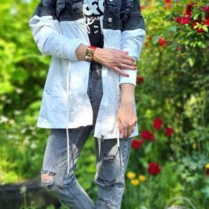 Замовити кольору графіт по знижці куртку-плащ з джинса і плащової тканини
