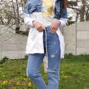 Придбати жіночу куртку-плащ з джинса і плащової тканини синього кольору дешево