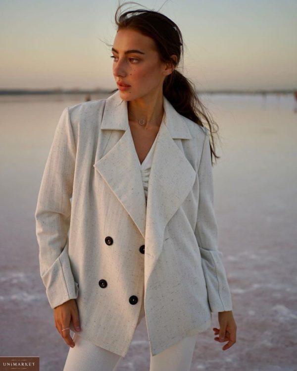 Купить женский двубортный пиджак из шерсти на подкладке с поясом (размер 42-52) белого цвета выгодно
