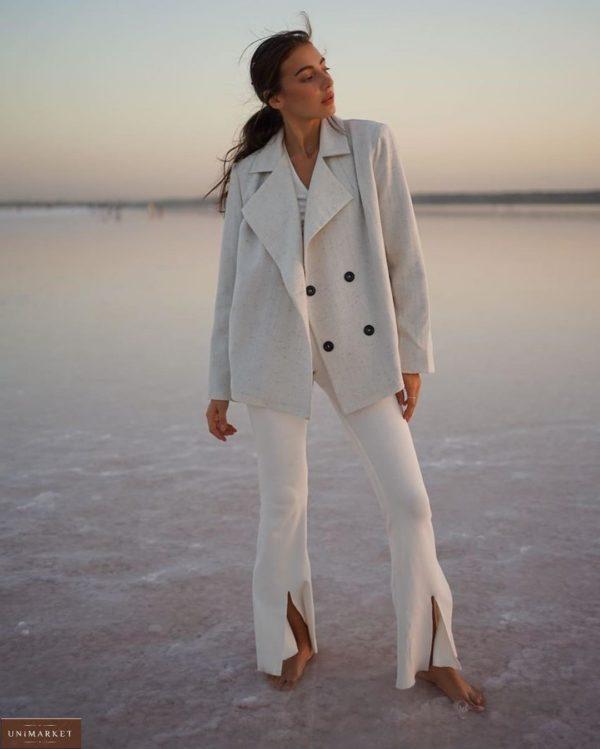 Заказать женский серый двубортный пиджак из шерсти на подкладке с поясом (размер 42-52) онлайн