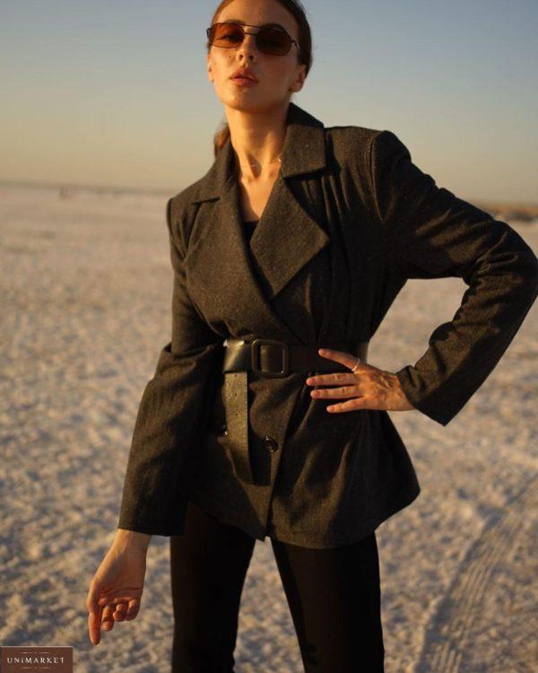 Приобрести черный женский двубортный пиджак из шерсти на подкладке с поясом (размер 42-52) на осень недорого