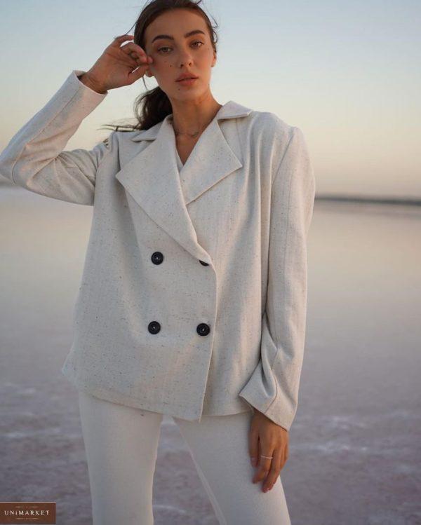 Заказать серого цвета двубортный пиджак из шерсти на подкладке с поясом (размер 42-52) для женщин выгодно
