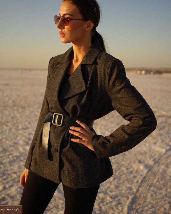 Купить женский двубортный пиджак из шерсти на подкладке с поясом (размер 42-52) черный в интернете