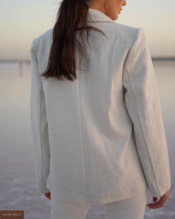 Заказать серый двубортный пиджак из шерсти на подкладке с поясом (размер 42-52) для полных женщин по скидке