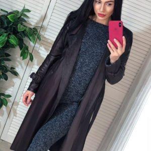 Приобрести коричневый плащ-пальто из эко кожи на замшевой основе для женщин дешево