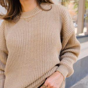 Заказать песочный эенский на осень шерстяной свитер оверсайз онлайн