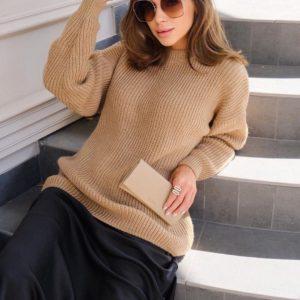 Приобрести женский шерстяной свитер оверсайз песок выгодно