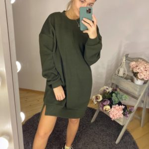 Купить женский удлиненный свитшот на флисе (размер 42-50) по низким ценам хаки