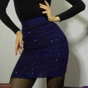 Приобрести женскую юбку-резинку синюю с пайетками онлайн