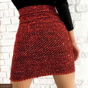 Заказать красную женскую юбку-резинку с пайетками онлайн