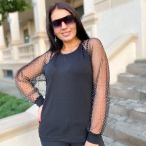 Заказать черную кофту для женщин с рукавами из сетки в горошек (размер 42-56) выгодно