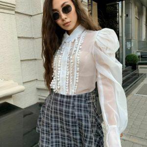 Замовити білу блузу для жінок з пишними рукавами з креп шифону по знижці