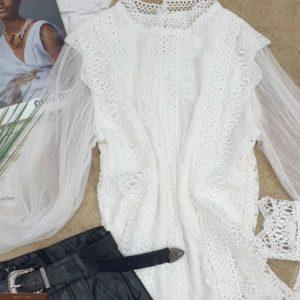 Заказать женскую белую кружевную блузку с длинным рукавом недорого