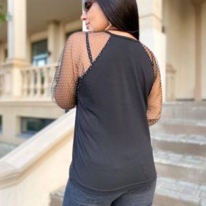 Приобрести женскую кофту с рукавами из сетки в горошек (размер 42-56) черного цвета недорого