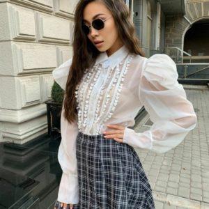 Купить женскую белого цвета блузу с пышными рукавами из креп шифона недорого