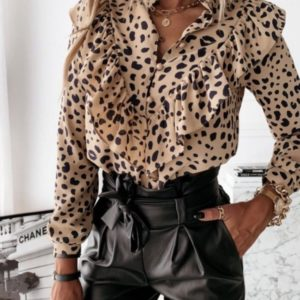 Приобрести беж принтованную блузу с рюшами для женщин выгодно