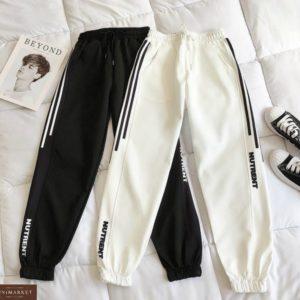 Заказать черные, белые спортивные женские штаны с резинками на манжетах онлайн