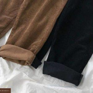 Заказать коричневые, черные вельветовые штаны на высокой посадке дешево для женщин