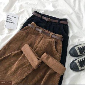 Заказать женские вельветовые штаны дешево на высокой посадке коричневого, черного цвета
