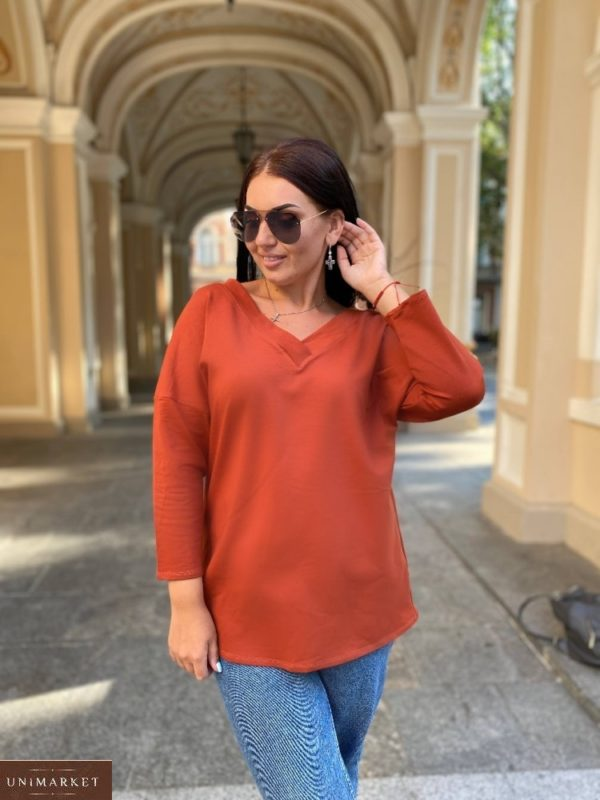 Заказать терракотовый удлиненный женский джемпер с V-образным вырезом (размер 42-56) онлайн