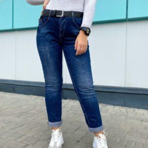 Заказать женские темно-синие джинсы с подкатами недорого