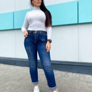 Купить темно-синие женские джинсы с подкатами по низким ценам
