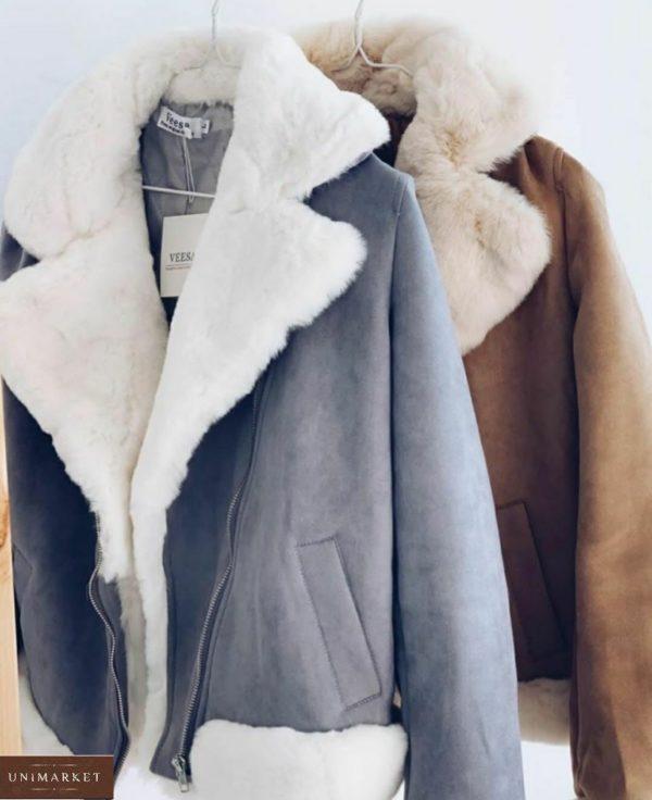 Заказать женскую дубленку с мехом под кролика серого и беж цвета (размер 42-48) недорого