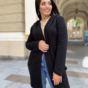 Заказать черный женский кардиган в спортивном стиле с капюшоном (размер 42-56) онлайн