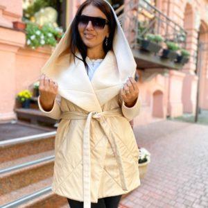 Заказать бежевый тёплый кардиган-комбинация с поясом (размер 42-56) для женщин по скидке