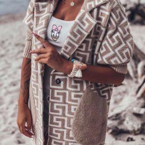 Заказать бежевый женский удлиненный кардиган из шерсти альпака с узором недорого