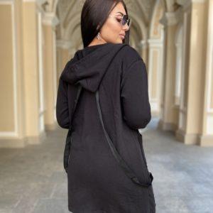 Купить женский кардиган в спортивном стиле с капюшоном (размер 42-56) черного цвета по низким ценам