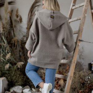 Купить серый для женщин на осень кардиган свободного кроя с капюшоном (размер 42-48) в интернете