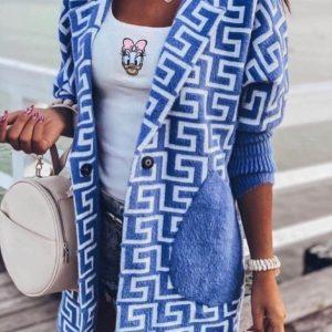 Заказать на осень удлиненный кардиган из шерсти альпака голубой с узором для женщин онлайн