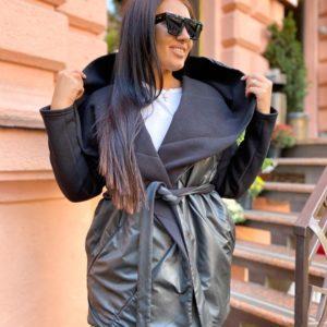 Купить черный женский тёплый кардиган-комбинация с поясом (размер 42-56) онлайн