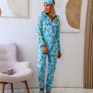 Заказать голубой женский яркий комбинезон с тапками и повязкой в комплекте (размер 42-50) по скидке
