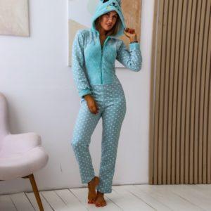 Заказать голубой для женщин спальный комбинезон в горошек из плюша (размер 42-50) онлайн