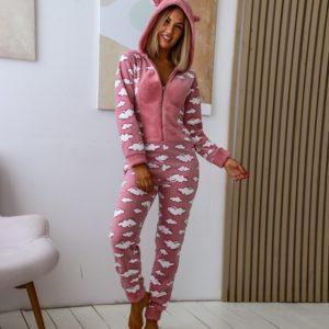 Заказать розовый плюшевый женский комбинезон в облака с хвостиком (размер 42-50) онлайн